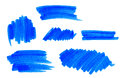 Set of vector blue highlight marker strokes and stains Stock Image