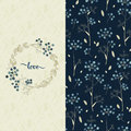Set with vector blue pattern with pretty flowers and a card with hand drawn word love