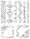 Set of vector borders, decorative floral elements  Royalty Free Stock Image