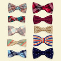 Set of vector bow ties illustration Royalty Free Stock Photos