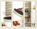 Set of vector brochures with coffee backgrounds blue cups and grunge elements on wooden background Stock Photo