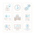 Set of vector business or finance icons and concepts in mono thin line style Royalty Free Stock Photo