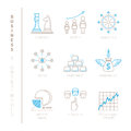 Set of vector business icons and concepts in mono thin line style Royalty Free Stock Photo