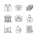 Set of vector business icons and concepts in sketch style Royalty Free Stock Photo