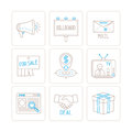 Set of vector business or marketing icons and concepts in mono thin line style