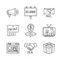 Set of vector business or marketing icons and concepts in sketch style Royalty Free Stock Photo