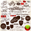 Set of vector calligraphic signatures ribbons and labels premi collection premium best original quality in retro style Royalty Free Stock Photos