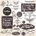 Set of vector calligraphic vintage elements and labels for desig design Stock Photography
