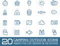 Set of Vector Camping Camp Elements and Outdoor Activity Icons Illustration can be used as Logo Royalty Free Stock Photo