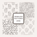 Set of Vector Candy, Bows and Muffins Seamless Patterns