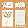 Set of vector cards with nuts and seeds
