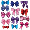 Cartoon bows and ribbons in different colors
