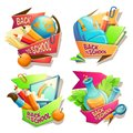 Set of vector cartoon illustrations, badges, stickers, emblems, colored icons of school supplies Royalty Free Stock Photo