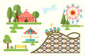 Set of vector cartoon park flat design composition Royalty Free Stock Photo