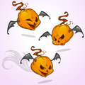 Set of vector cartoon pumpkin heads expressions with bat wings. Vector Halloween illustration Royalty Free Stock Photo