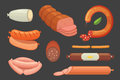 Set of vector cartoon sausage. Bacon, sliced Salami and Smoked Boiled. Isolated fresh Delicatessen icons. Grilled