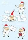Set of vector cartoon style Christmas Sheep