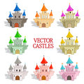 Set of vector castles funny for game design or maps cartoon illustration in eps format Royalty Free Stock Photography