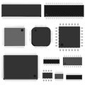 Set of vector chip simple untitled microchip top view Stock Photography