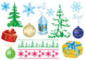 Set of vector christmas decorations Royalty Free Stock Photos