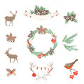 Set of vector Christmas design elements Royalty Free Stock Photo