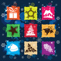 Set vector Christmas icon, seamless background Stock Photos