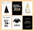 Set of vector Christmas, New year congratulation card designs.