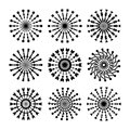 Set Of 9 Vector Circle Ornaments For Design. Decorative Stamp patterns. Royalty Free Stock Photo