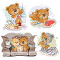 Set vector clip art illustrations of enamored teddy bears