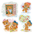 Set vector clip art illustrations of funny teddy bears