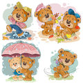 Set vector clip art illustrations of funny teddy bears Royalty Free Stock Photo