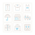 Set of vector clothes icons and concepts in mono thin line style Royalty Free Stock Photo