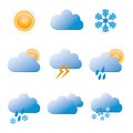 Set of Vector Color Weather Icons. Royalty Free Stock Photo