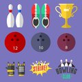 Set of vector colorful bowling icons sport strike pin symbol ball skittle game equipment illustration. Royalty Free Stock Photo