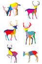 Set of vector colorful deers