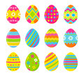 Set of vector colorful Easter eggs. Decoration for Easter design. Isolated on white background.