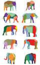 Set of vector colorful elephants