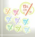 Set of vector colorful rounded sale stickers, labels, tags Royalty Free Stock Photo