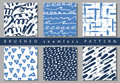 Set of Vector colorful seamless pattern with brush strokes and dots. Blue color on white background Hand painted grange
