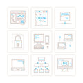 Set of vector computer icons and concepts in mono thin line style Royalty Free Stock Photo