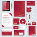 Set of vector corporate identity template. Modern business stationery mock-up. Background with dark red triangles Royalty Free Stock Photo