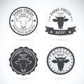 Set of vector cow labels on white background. Farm. Royalty Free Stock Photo