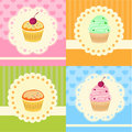 Set of vector cupcakes with lace illustration Royalty Free Stock Photography