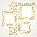 Set of vector decorative frames in Victorian style. Royalty Free Stock Photo