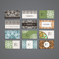 Set of vector design templates. Business card with floral circle ornament. Mandala style. Royalty Free Stock Photo