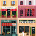 Set of vector detailed flat design restaurants and cafes facade icons. Cool graphic exterior design for restaurant business. Royalty Free Stock Photo