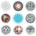 Set of vector dimensional wireframe low poly objects, spherical