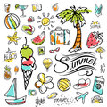 Set of  vector doodle summer icons Royalty Free Stock Photo