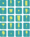 Set vector drink glass icons Stock Photos