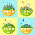 Set of vector ecology illustrations in flat style Royalty Free Stock Photo